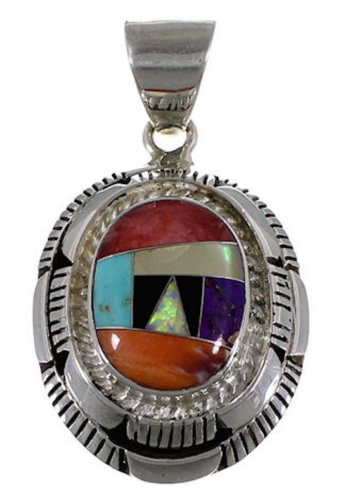 Sterling Silver Multicolor Inlay Jewelry Pendant AS34496