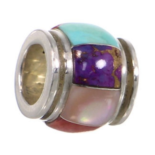 Genuine Sterling Silver Jewelry Multicolor Inlay Bead Pendant RS43868