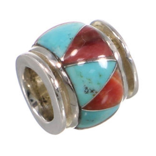 Turquoise Red Oyster Shell Silver Bead Pendant Jewelry HS38764