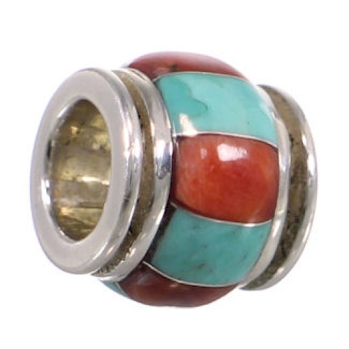 Sterling Silver Turquoise Red Oyster Shell Inlay Bead Pendant HS38762