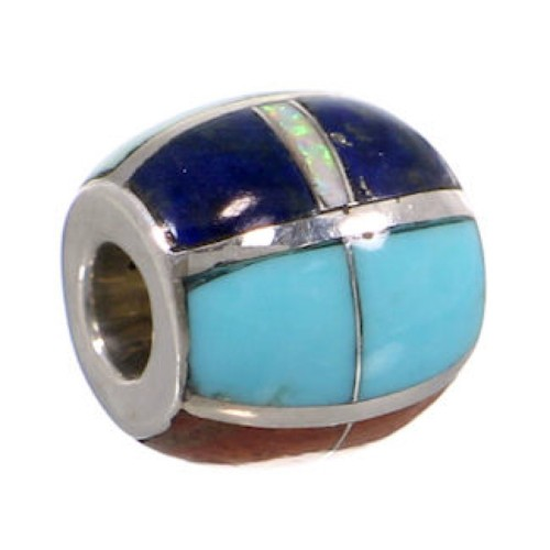 Multicolor Inlay Sterling Silver Bead Pendant AS32363