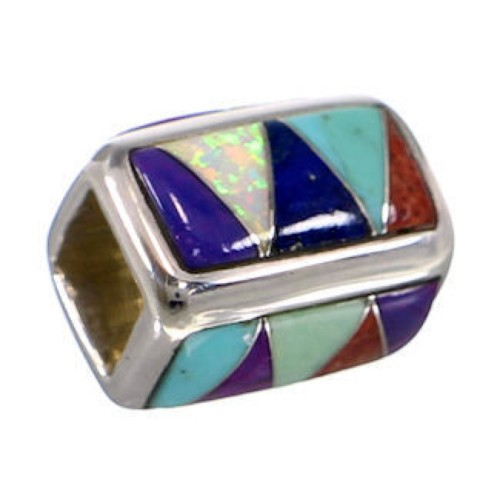 Multicolor And Turquoise Sterling Silver Bead Pendant AS32421