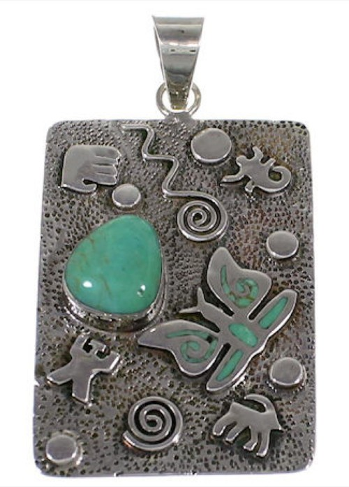 Turquoise And Genuine Sterling Silver Butterfly Pendant HS54819