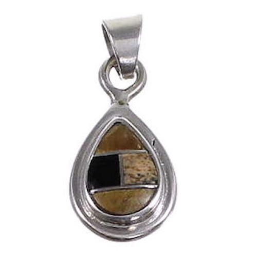 Multicolor Inlay And Sterling Silver Tear Drop Pendant Jewelry NS44180
