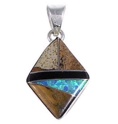 Authentic Sterling Silver Multicolor Inlay Pendant DS53849