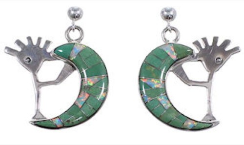 Turquoise Opal Whiterock Sterling Silver Kokopelli Earrings RS36105