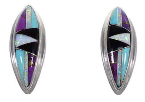 Genuine Sterling Silver Turquoise Multicolor Post Earrings RS32357