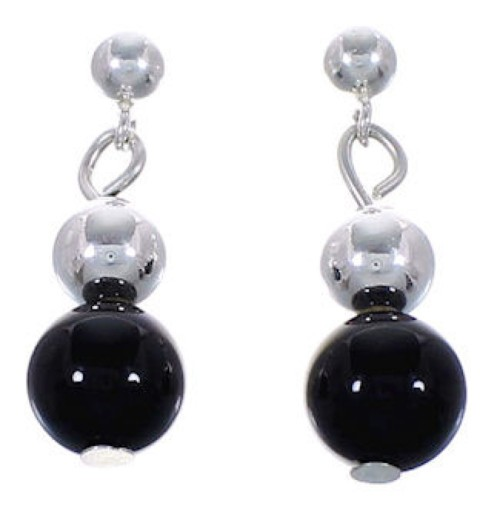 American Indian Jewelry Navajo Silver Onyx Bead Earrings AS23163