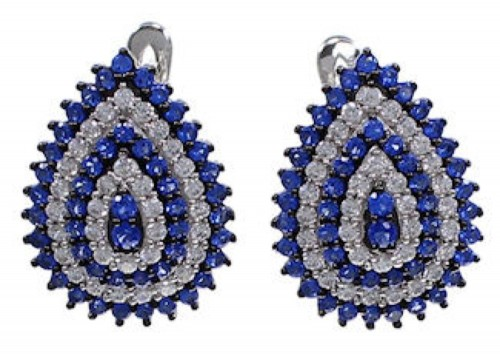 Blue And White Cubic Zirconia Post Earrings AS55255