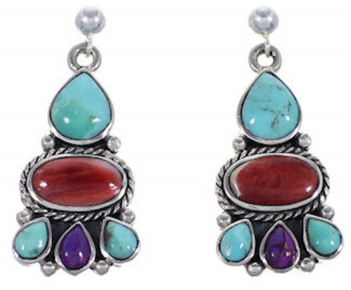 Turquoise Multicolor Sterling Silver Post Dangle Earrings RS39604