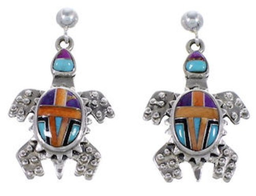 Multicolor Inlay Genuine Sterling Silver Turtle Post Earrings NS33214