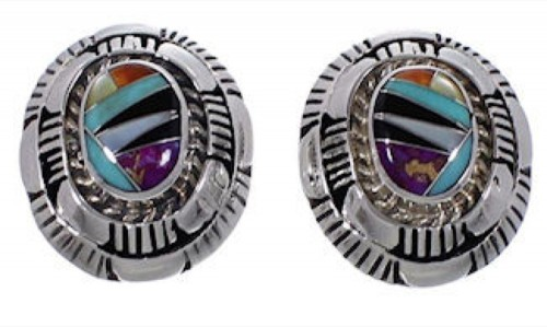 Multicolor Authentic Sterling Silver Post Earrings RS42689