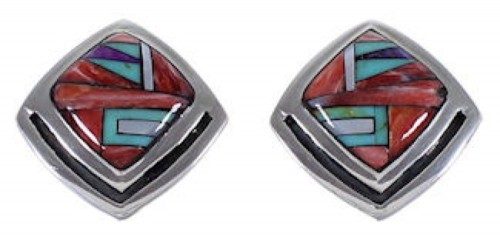 Multicolor Red Oyster Shell Sterling Silver Post Earrings RS42706
