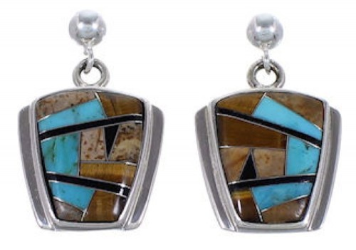 Sterling Silver Tiger Eye Multicolor Post Dangle Earrings RS42656