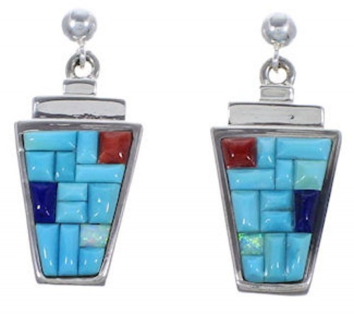 Turquoise Multicolor Jewelry Sterling Silver Post Earrings HS28615