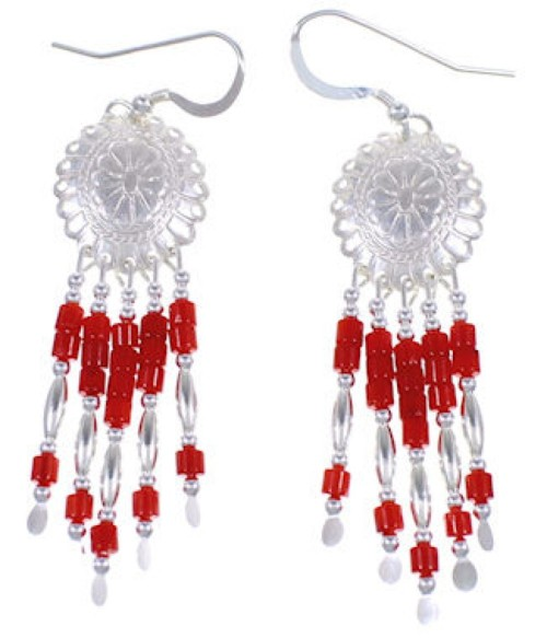 Sterling Silver Coral Concho Earrings Jewelry BE19C