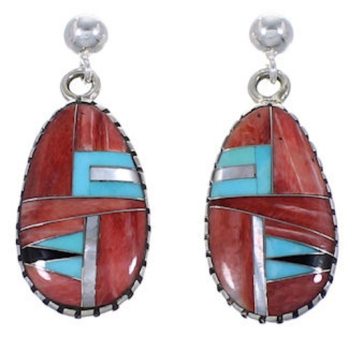 Sterling Silver And Multicolor Jewelry Post Dangle Earrings RS42639