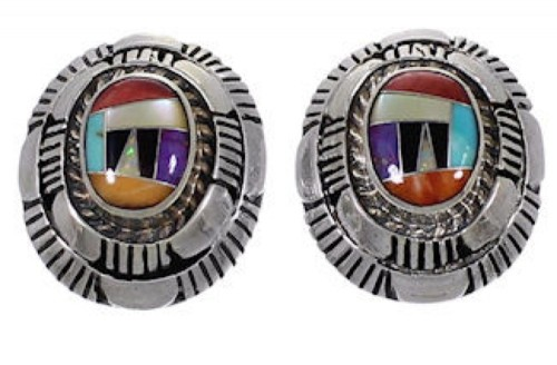 Multicolor Inlay Genuine Sterling Silver Jewelry Post Earrings AS34561