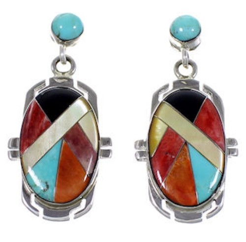 Turquoise Multicolor Sterling Silver Jewelry Post Earrings RS46428