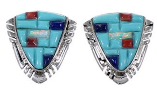 Southwest Jewelry Multicolor Sterling Silver Post Earrings NS50775