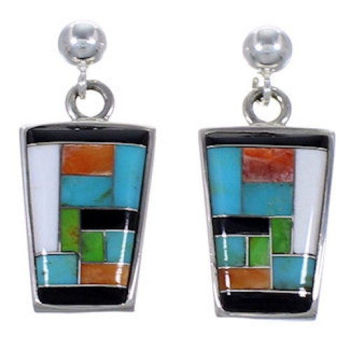 Turquoise Multicolor Inlay Sterling Silver Post Earrings AS34597