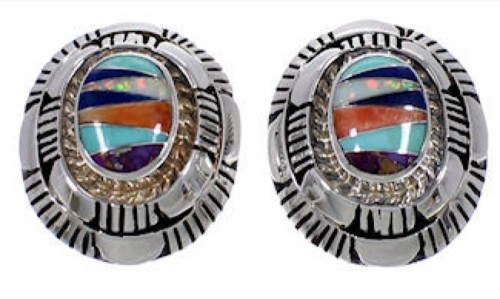 Sterling Silver Turquoise Multicolor Jewelry Post Earrings RS40031