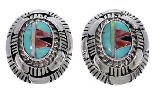Turquoise Multicolor Authentic Sterling Silver Post Earrings AS34550