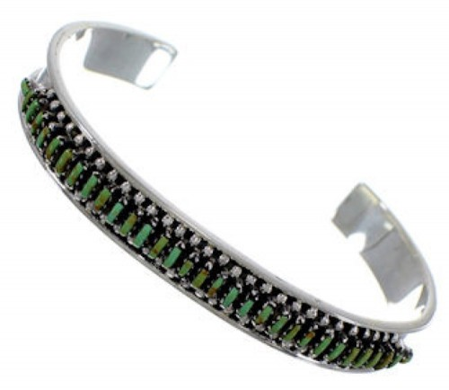 Sterling Silver And Turquoise Needlepoint Cuff Bracelet TX39522