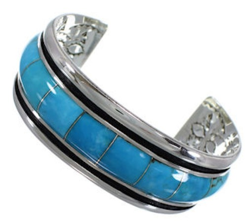 Turquoise Southwest Sterling Silver Cuff Bracelet EX41612