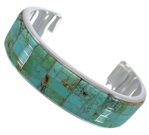 Southwest Silver And Turquoise Inlay Cuff Bracelet TX39699