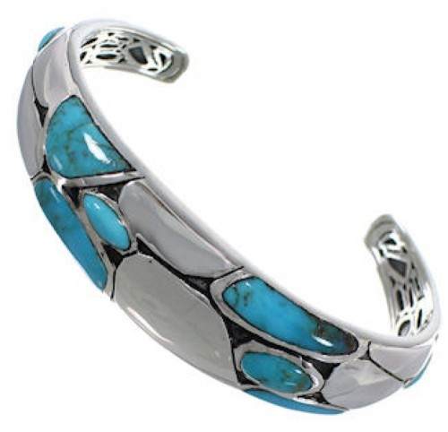Southwest Sterling Silver And Turquoise Bracelet TX39594