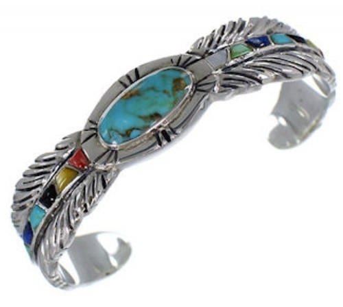 Multicolor Sterling Silver Feather Jewelry Cuff Bracelet PX38924