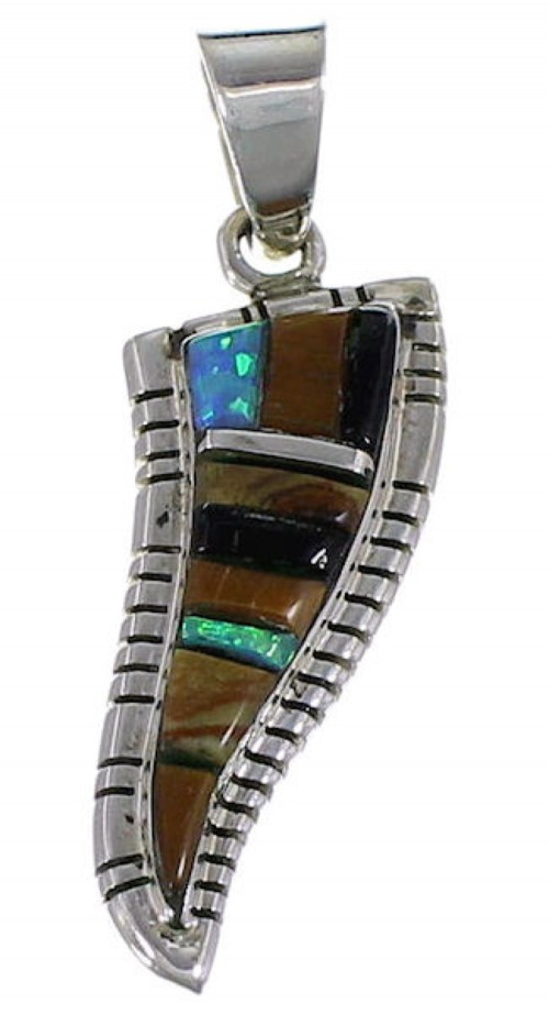 Southwest Multicolor Jewelry Sterling Silver Pendant EX29786