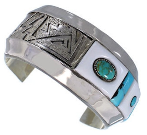 Multicolor And Sterling Silver Southwest Cuff Bracelet IS61090