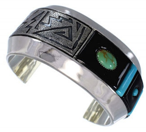 Turquoise Sterling Silver And Jet Jewelry Cuff Bracelet PX27966