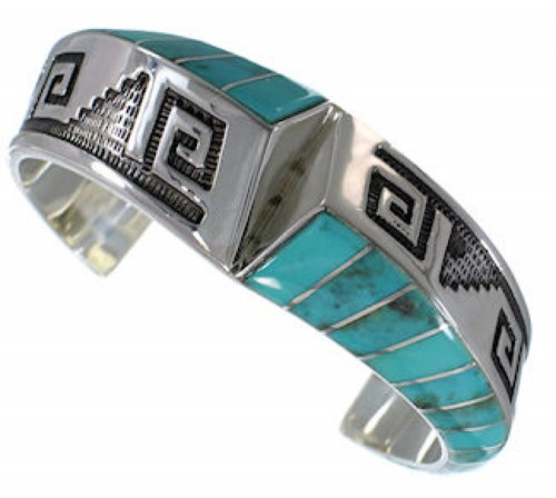 Silver Southwestern Turquoise Inlay Jewelry Cuff Bracelet PX27803
