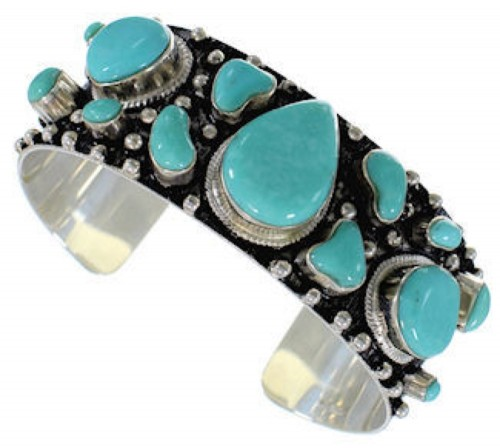 Southwest Sterling Silver Turquoise Cuff Bracelet GS57686