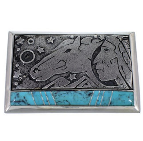 Southwest Sterling Silver Turquoise Belt Buckle YS59884