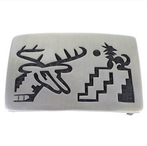 Native American Hopi Jewelry Sterling Silver Deer Belt Buckle DS55304