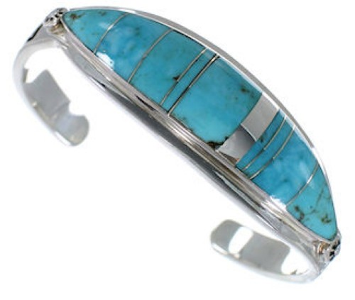 Turquoise Sterling Silver Water Wave Jewelry Bracelet VX37577