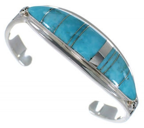 Southwest Water Wave Sterling Silver Turquoise Bracelet VX37589