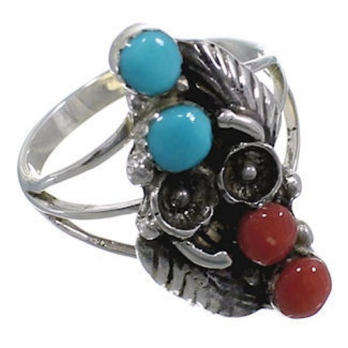 Turquoise Sterling Silver Coral Ring Size 7-3/4 GS58177