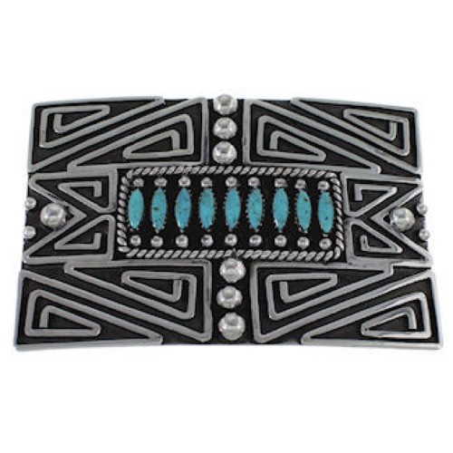 Southwest Authentic Sterling Silver And Turquoise Belt Buckle PX29151