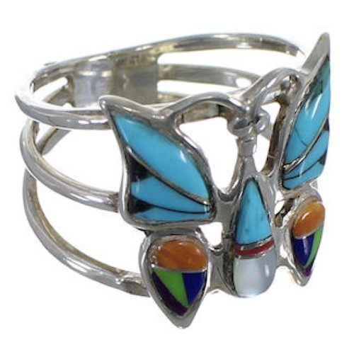 Multicolor Inlay Sterling Silver Butterfly Ring Size 6 UX35903