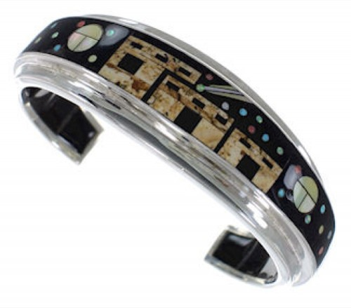 Silver Native American or Pueblo Design Multicolor Bracelet IS63250