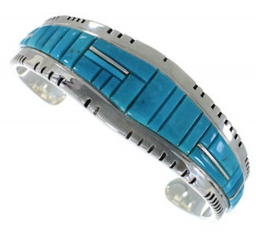 Sterling Silver Southwest Turquoise Inlay Cuff Bracelet EX27401
