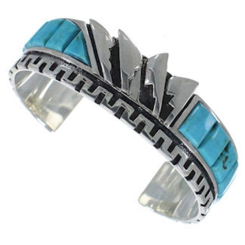 Southwest Turquoise Inlay Sterling Silver Cuff Bracelet BW66323