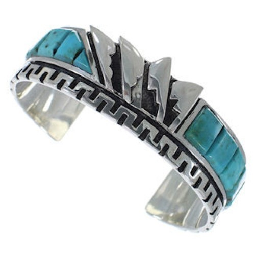 Sterling Silver And Turquoise Inlay Cuff Bracelet BW66328