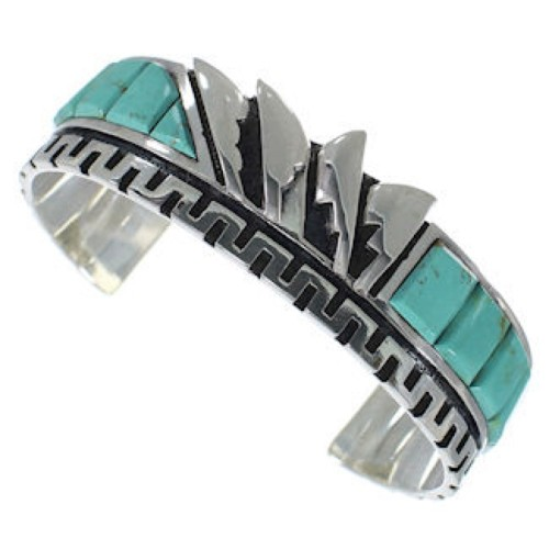 Turquoise Sterling Silver Inlay Cuff Bracelet BW66381