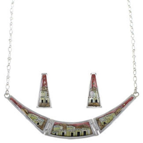 Multicolor Silver Necklace Set Native American Design Jewelry GS62312